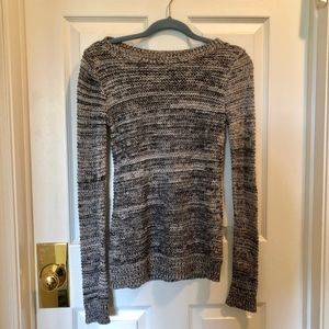 Black and White Marled Knit Sweater